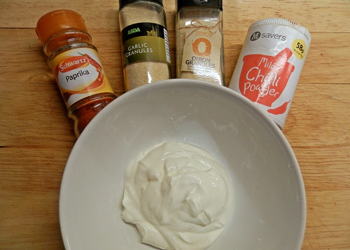 healthy onion and garlic crips chips dip sauce greek yoghurt