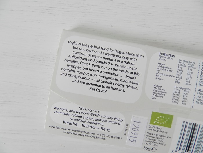 YogiQ IQ Superfood Chocolate Review 2